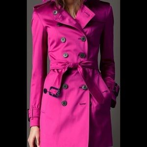 Burberry Prorsum pink trench coat mid length